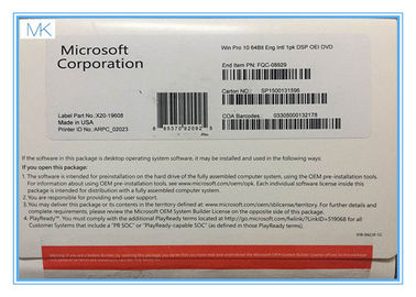 Trung Quốc 64 Bit Microsoft Windows 10 Operating System Builder OEM includes COA  Factory Sealed nhà cung cấp
